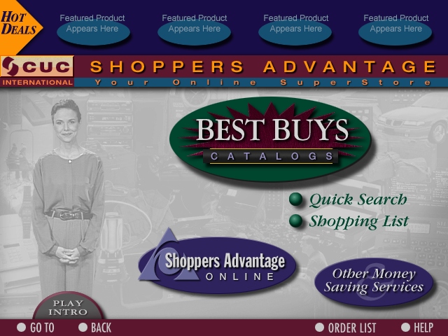 CUC Best Buys Online SuperStore CD-ROM Interface 001 Home Screen