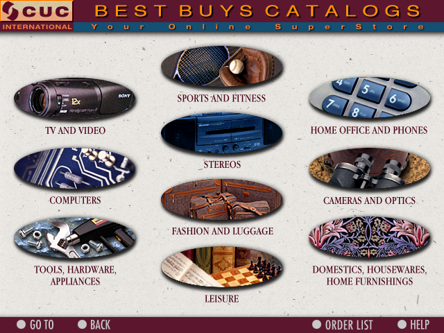 CUC Best Buys Online SuperStore CD-ROM Interface 020 Catalogs Screen