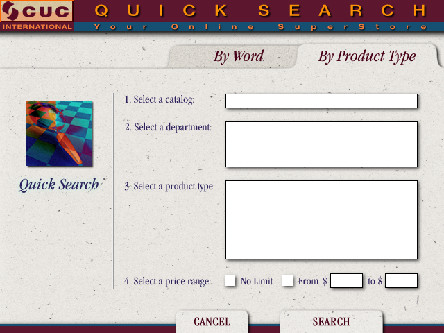 Search By Product Type Screen Design