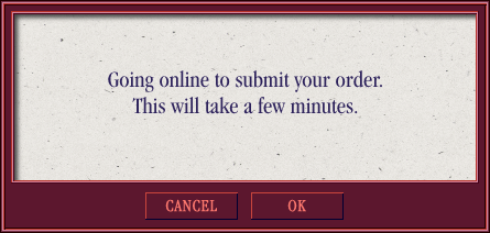 Going Online To Submit Order Modal Overlay