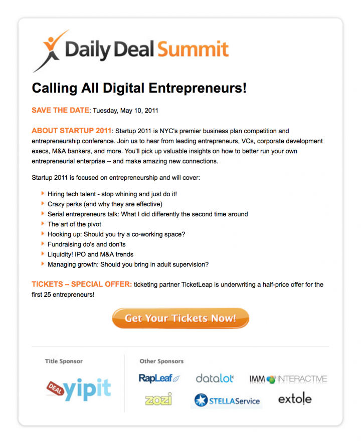 """Project Detail View: Daily Deal Summit """"Save The Date"""