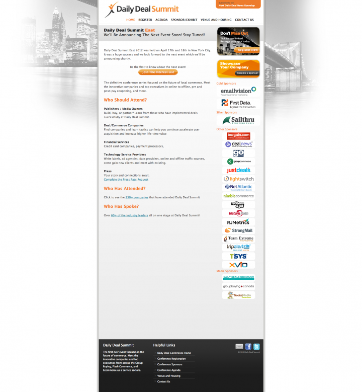Daily Deal Summit East Web Site Homepage