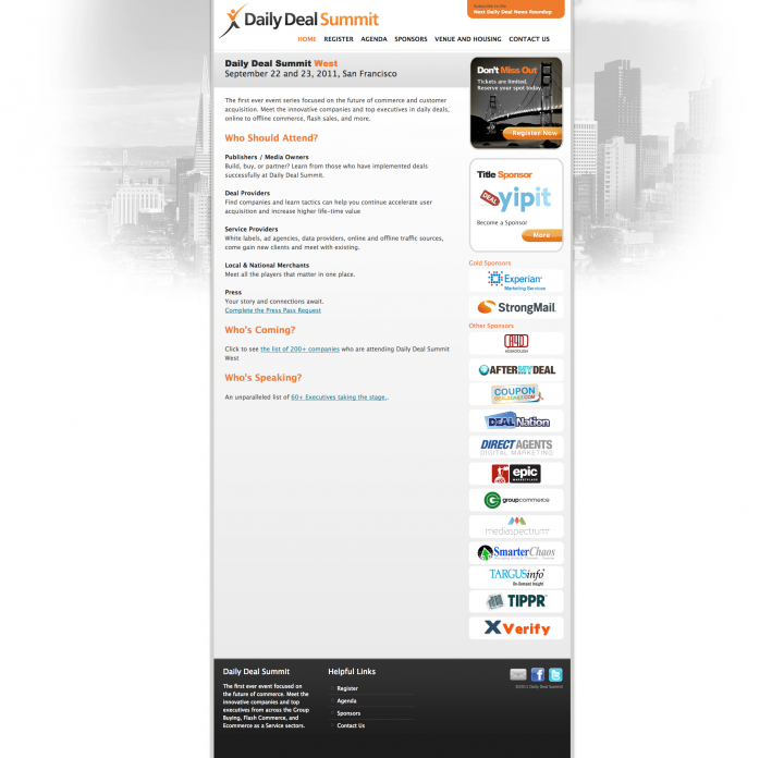 Daily Deal Summit West Web Site Homepage