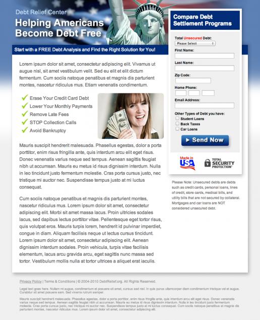DebtRelief.org Landing Page