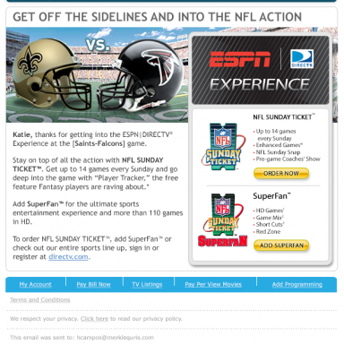 DIRECTV ESPN Experience – NFL Sunday Ticket, SuperFan Email