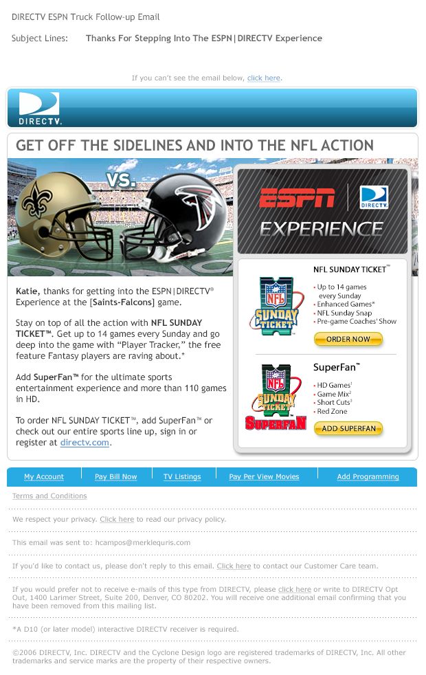 DIRECTV ESPN Experience - NFL Sunday Ticket, SuperFan Email