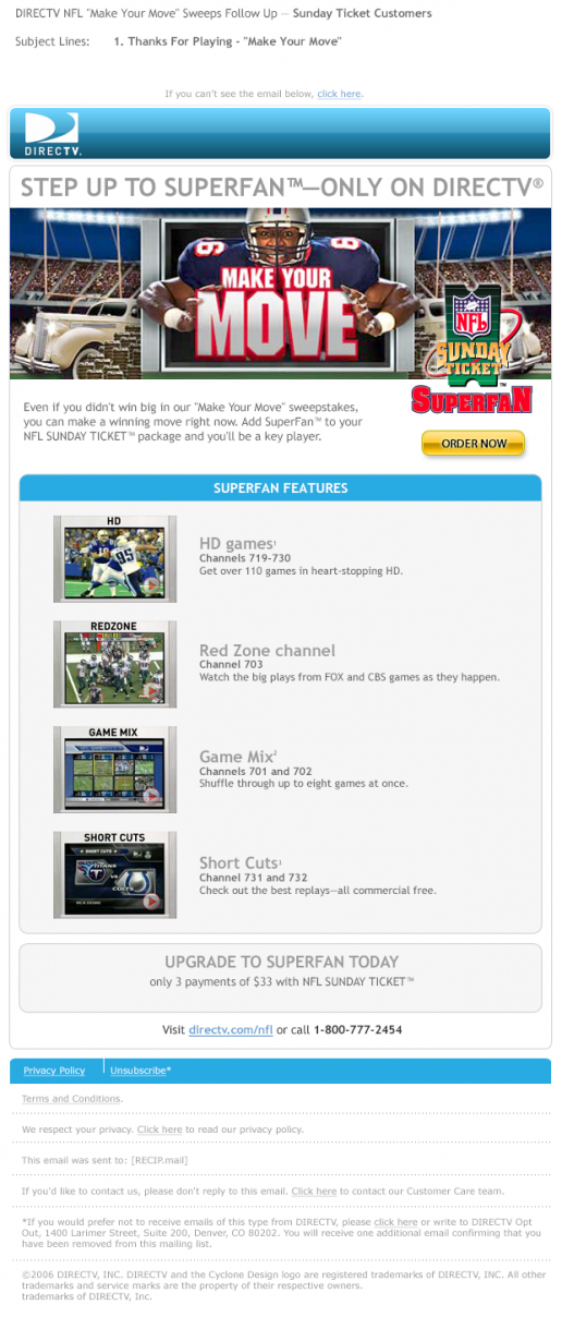 "DIRECTV NFL ""Make Your Move"" SuperFan Email"