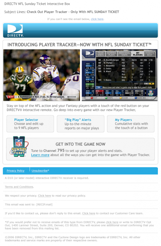 DIRECTV NFL Player Tracker Introduction Email