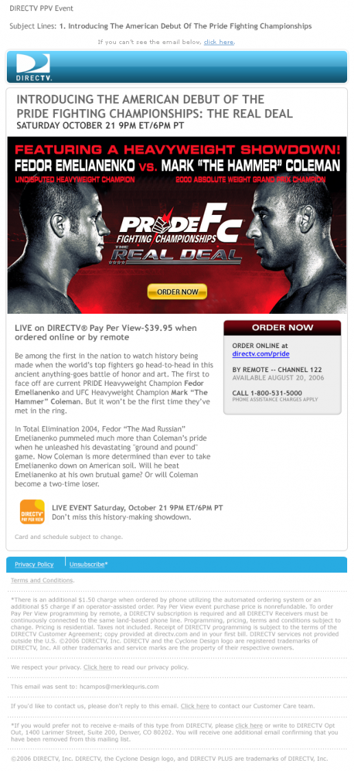 DIRECTV Pay-Per-View Pride Fighting Championship Debut Email