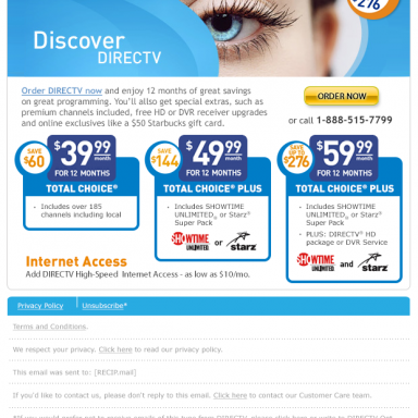 DIRECTV Discover Entertainment Packages National Offer Email