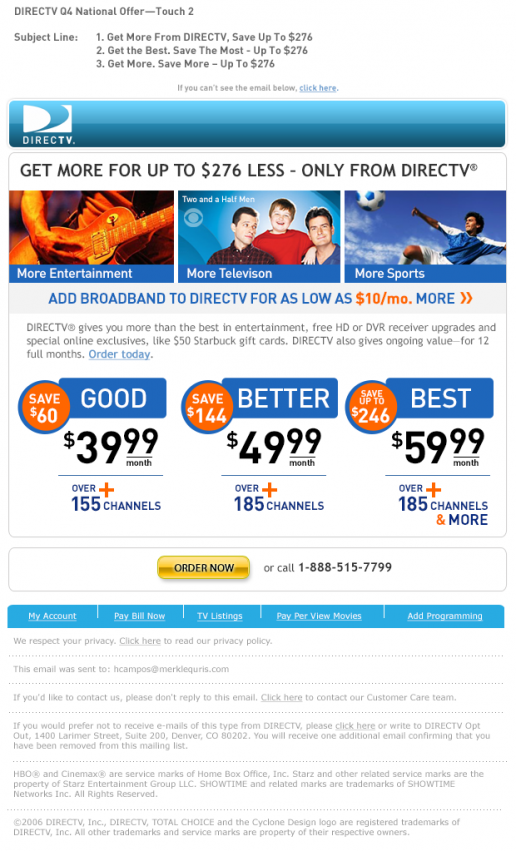 "DIRECTV ""Get More"" National Offer Email"