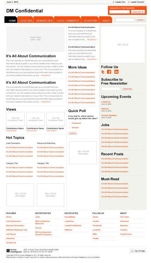 Direct Marketing Confidential – Alternate Homepage Visual Design 01
