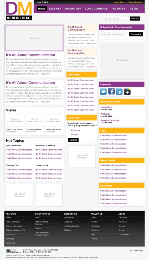 Direct Marketing Confidential – Alternate Homepage Visual Design 02