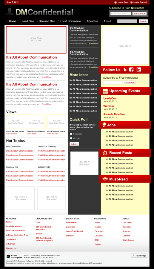 Direct Marketing Confidential – Alternate Homepage Visual Design 03