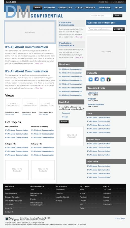Direct Marketing Confidential – Alternate Homepage Visual Design 04