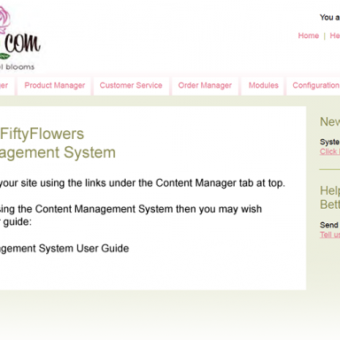 FiftyFlowers Commerce Management System - Welcome Page