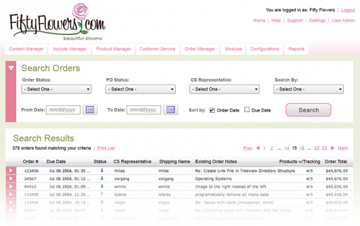 FiftyFlowers Commerce Management System - Search Page