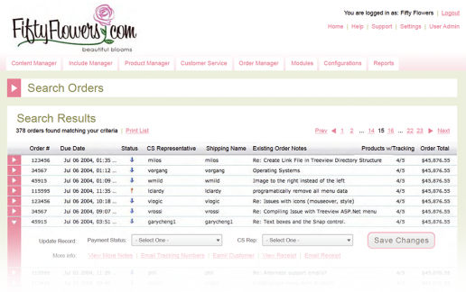 FiftyFlowers Commerce Management System - Orders List