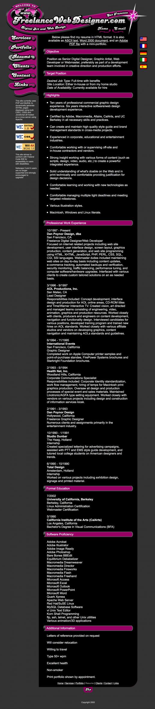 freelance-web-designer-resume-page