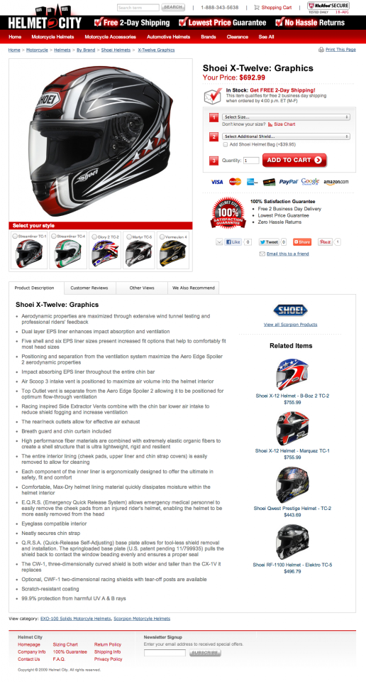 Helmet City - Product Detail Page