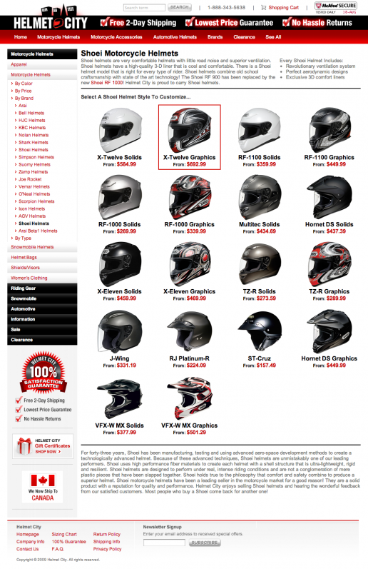 Helmet City - Category Page
