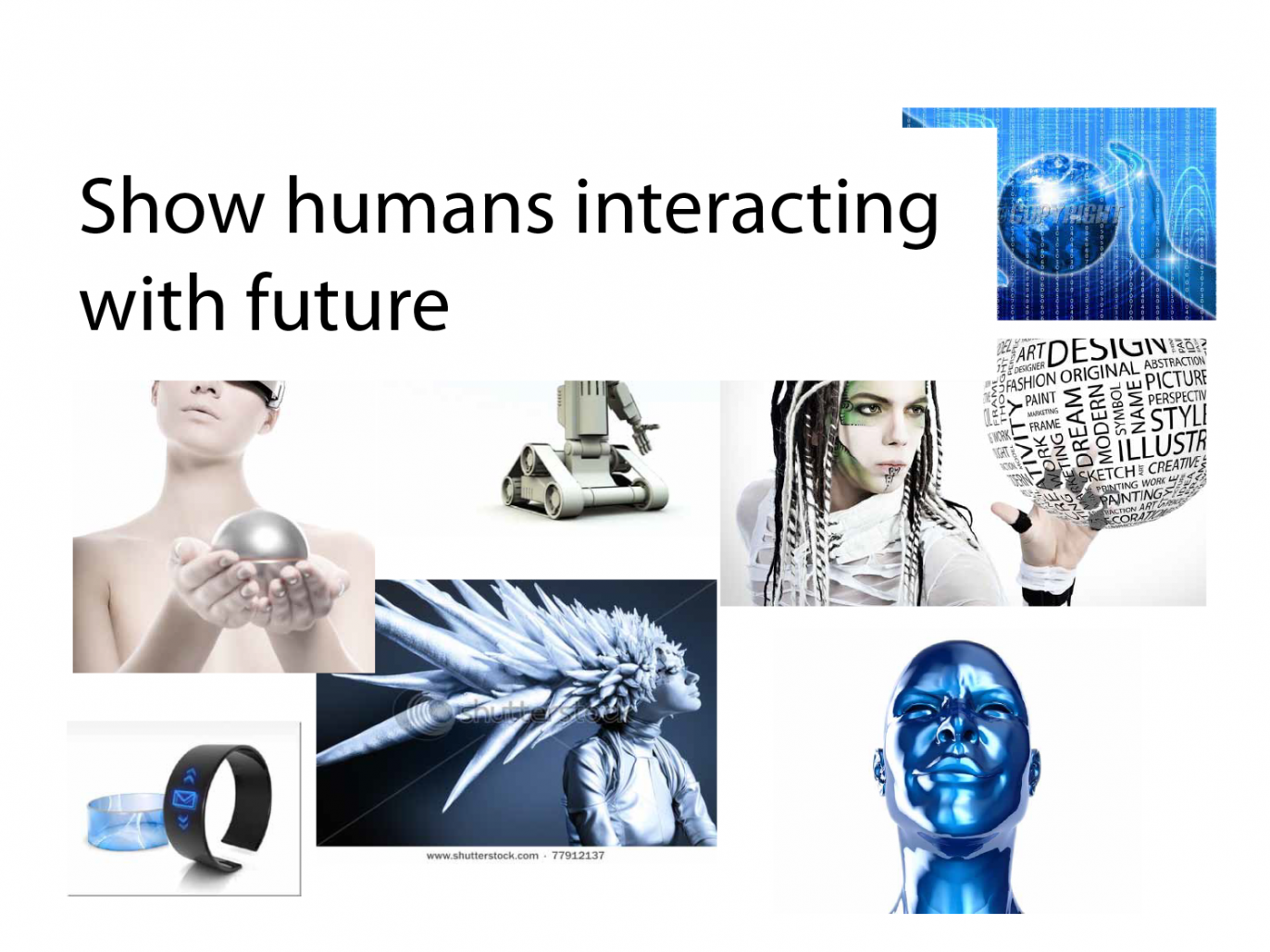 image showing humans interactign with futuristic interfaces