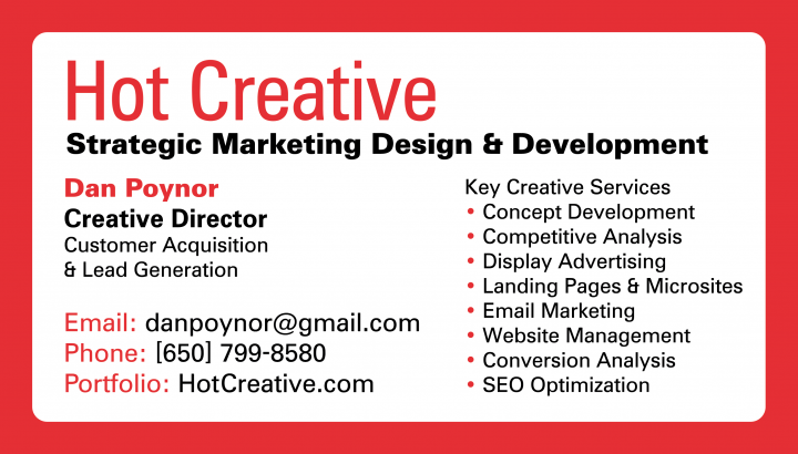 Hot Creative Business Card - Front