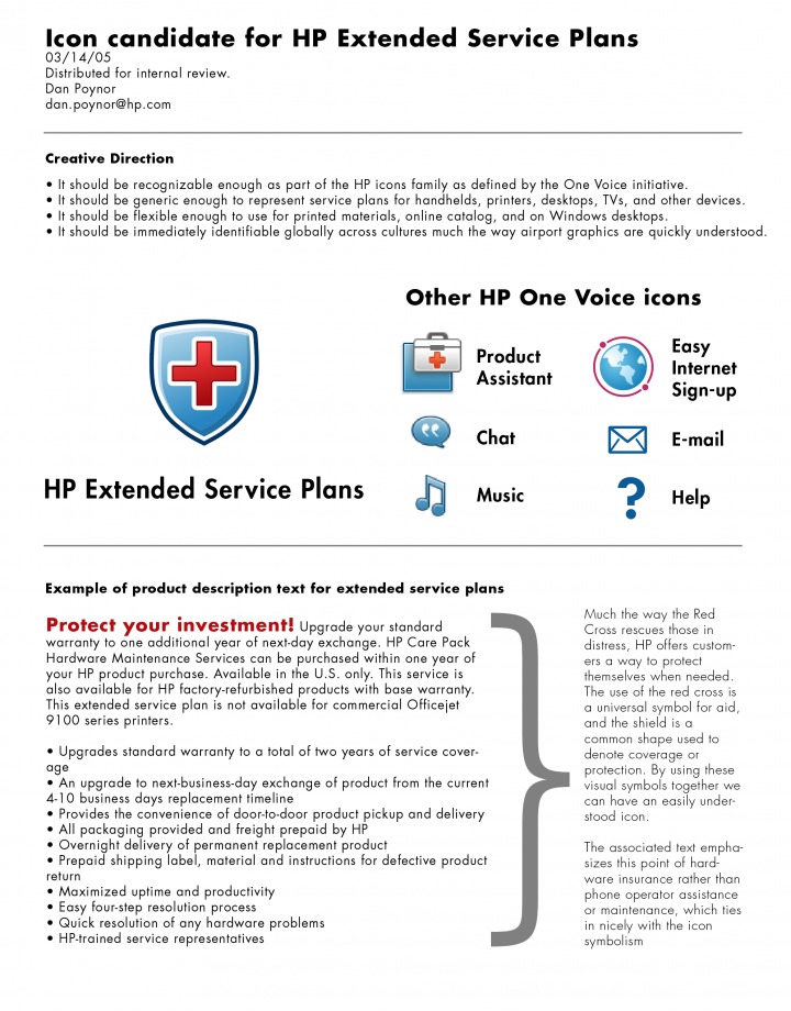 HP Extended Service Plans (ESP) Icon Candidate Proposal