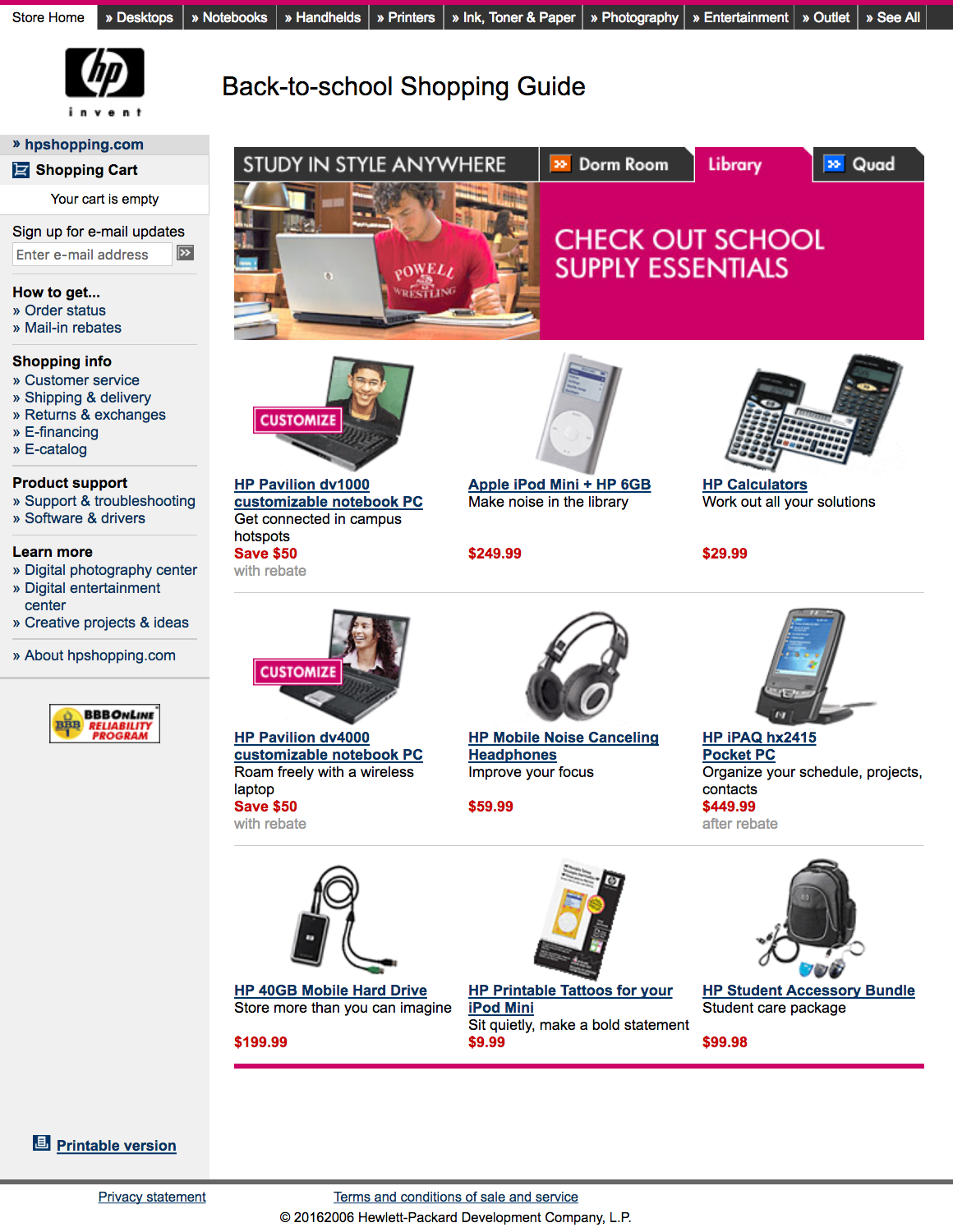 HPShopping.com Back-to-School Shopping Guide - Study Anywhere: Library