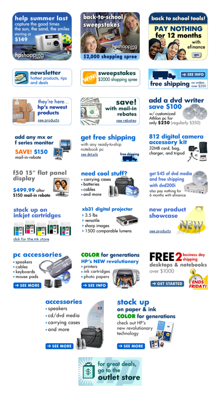 HP Various Onsite Product Promotion Graphics