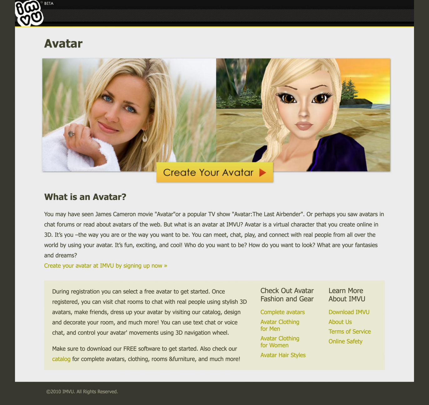 "Project Detail View: IMVU ""Avatar"" SEO Keyword Focused"