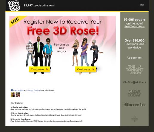 imvu-free-rose-incentive-campaign-landing-page