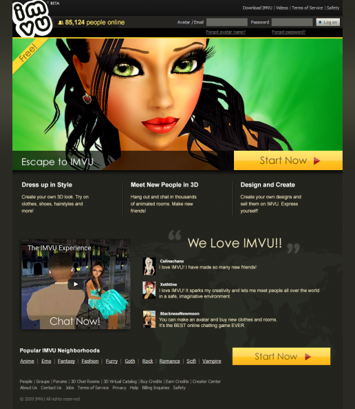 Project Overview: IMVU Homepage Design