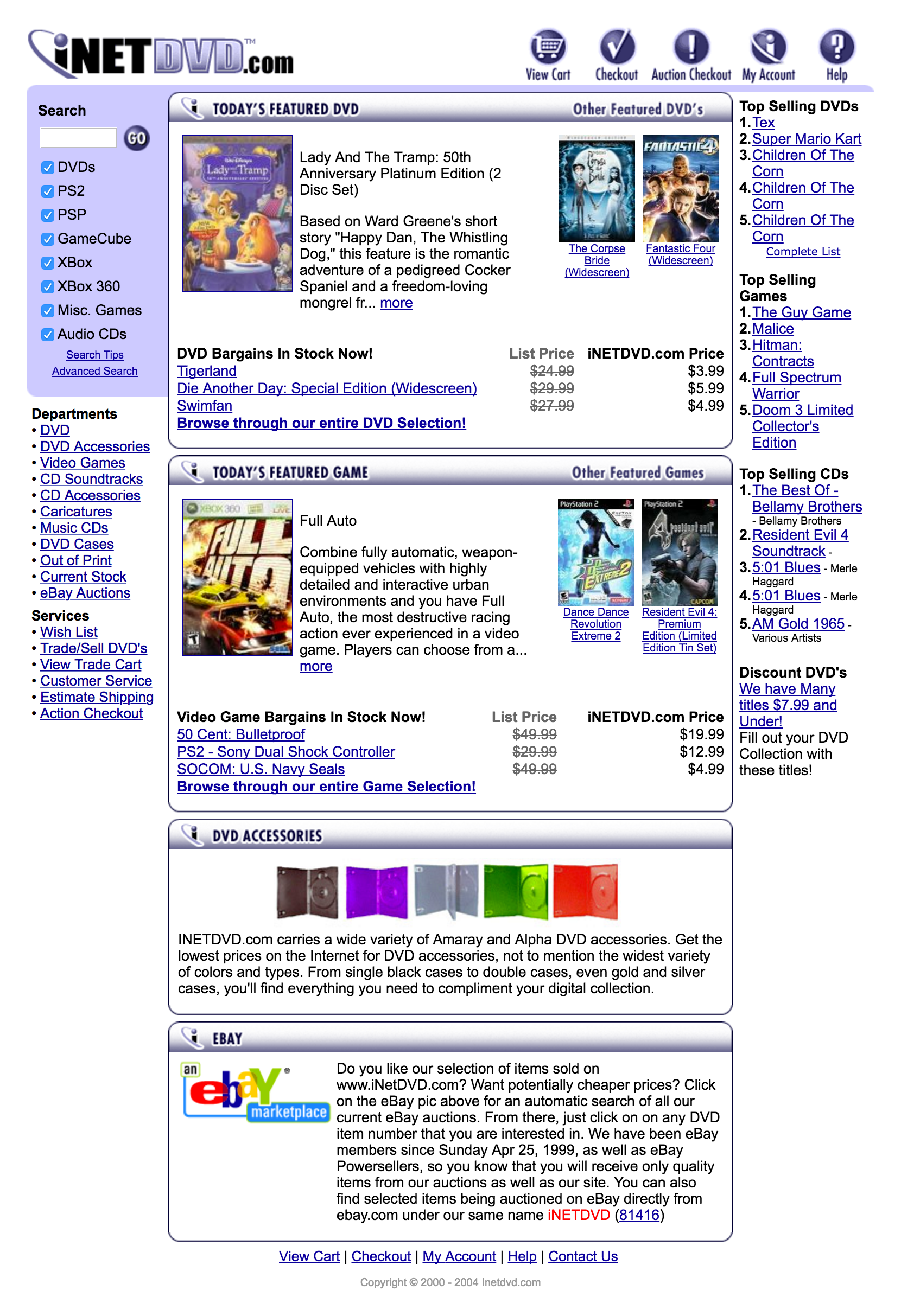 iNetDVD.com Website Homepage Design 2003