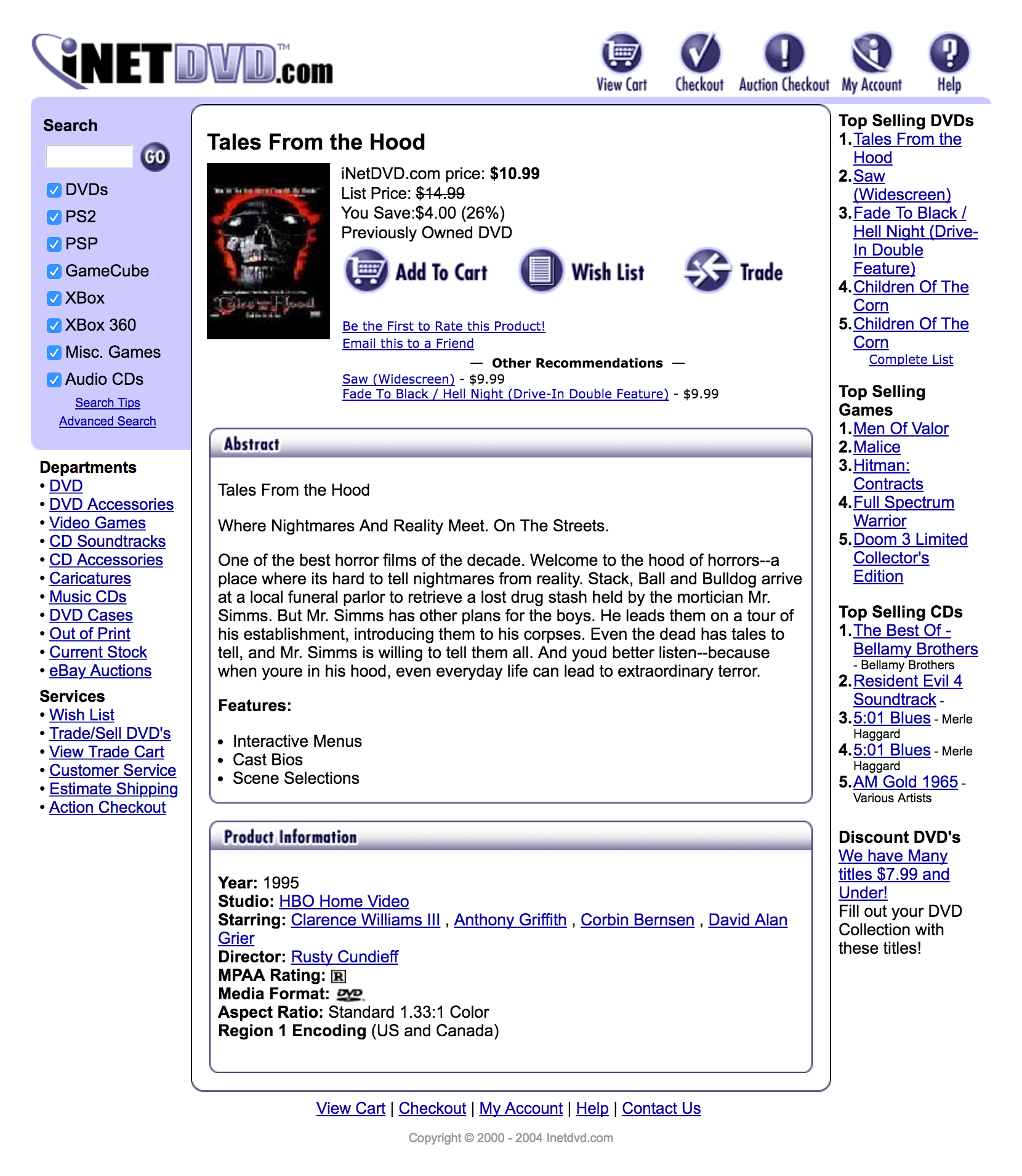 iNetDVD.com Website Product Detail Page Design 2003