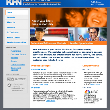 KHN Solutions Website Design - Home Page