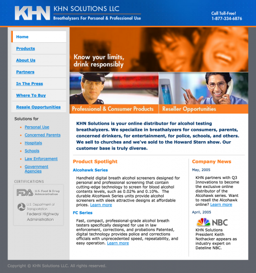 KHN Solutions Website Design – Home Page