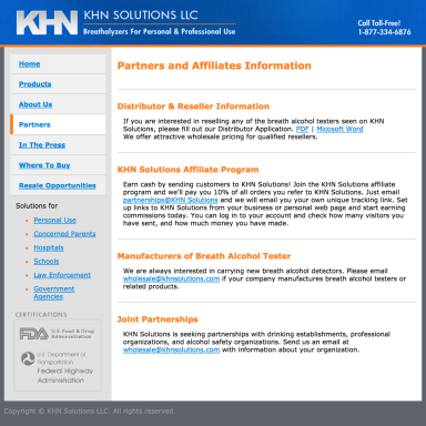 KHN Solutions Website Design - Partners Page