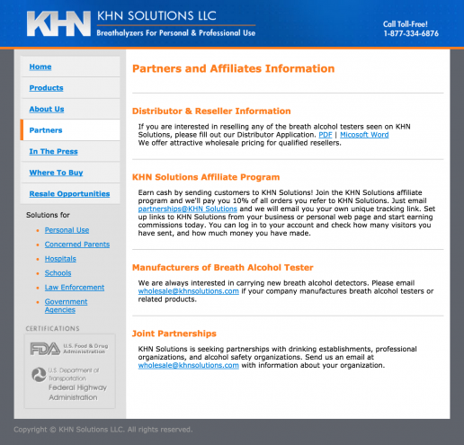 KHN Solutions Website Design – Partners Page