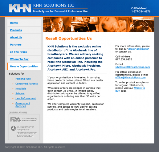 KHN Solutions Website Design - Resale Opportunities Page