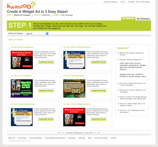 kwanzoo-website-design-ad-template-selection-page
