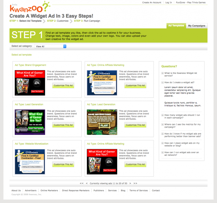 Project Detail View Ad Template Selection Page For Kwanzoo Website