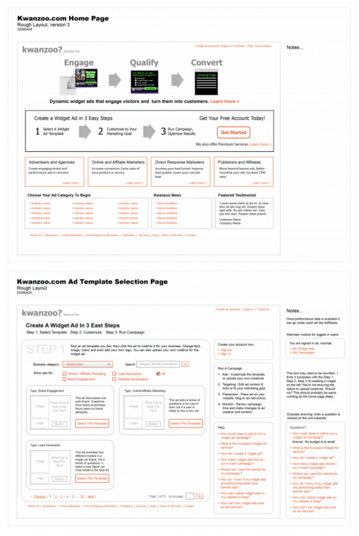 kwanzoo-website-redesign-page-wireframes