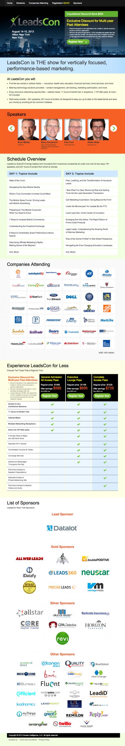LeadsCon Landing Page Creator – New York Event Example