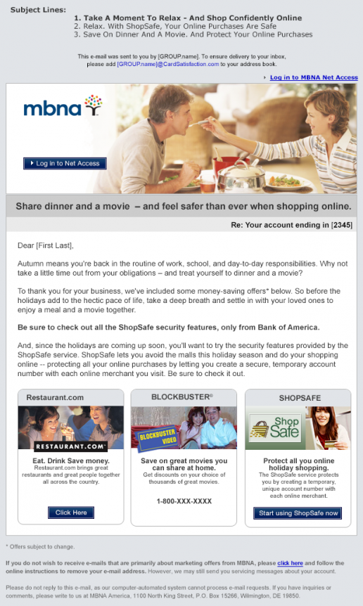 MBNA ShopSafe Customer Email