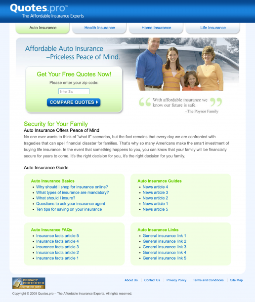 Quotes.pro Auto Insurance Landing Page Design Screenshot