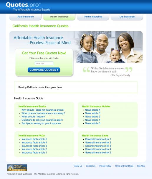Quotes.pro California Health Insurance Landing Page Design Screenshot