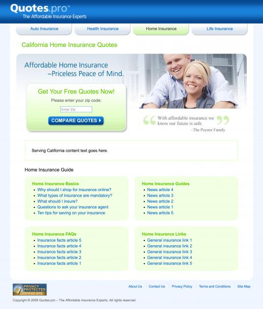 Quotes.pro California Home Insurance Landing Page Design Screenshot