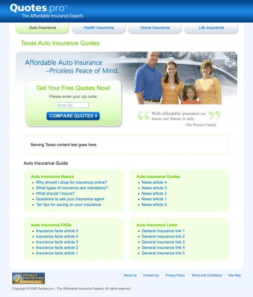 Quotes.pro Texas Auto Insurance Landing Page Design Screenshot