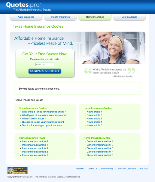 Quotes.pro Texas Home Insurance Landing Page Design Screenshot